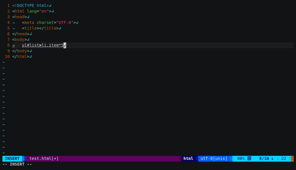 emmet.vim:快速打出 HTML 語法,也支援 JSX 語法